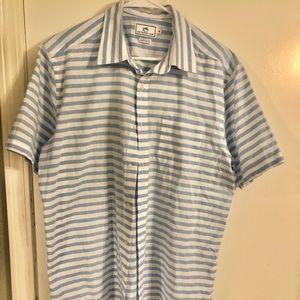 Southern Tide White/Blue Striped Button Down Shirt